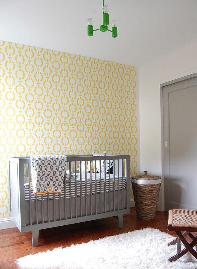 decoração simples para quarto de bebê amarelo e cinza Foto Houzz