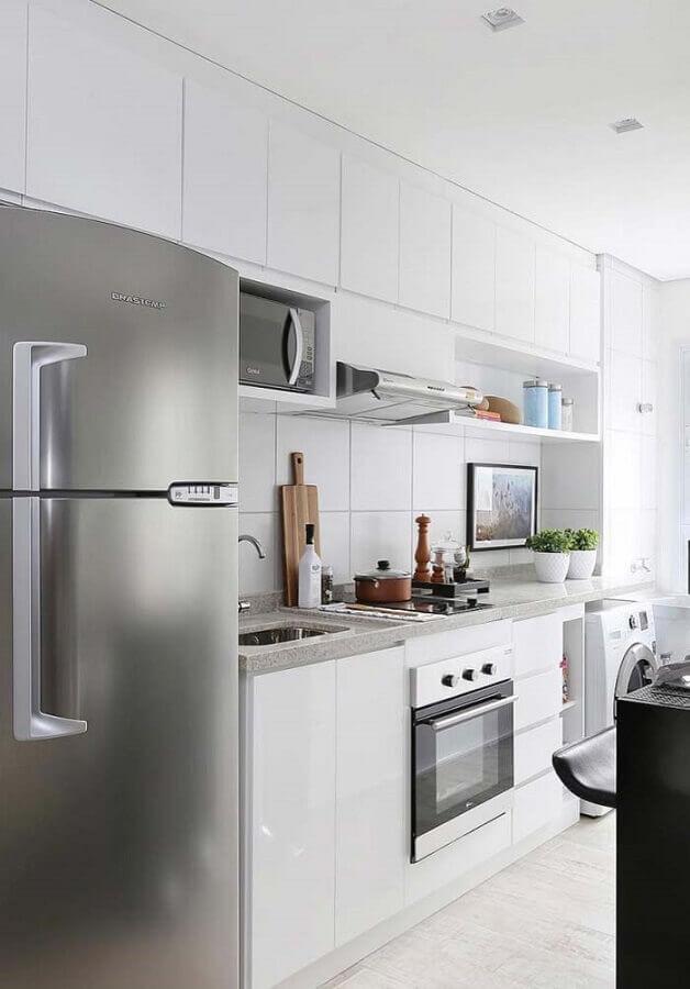 decoração toda branca para cozinha planejada Foto Assetproject