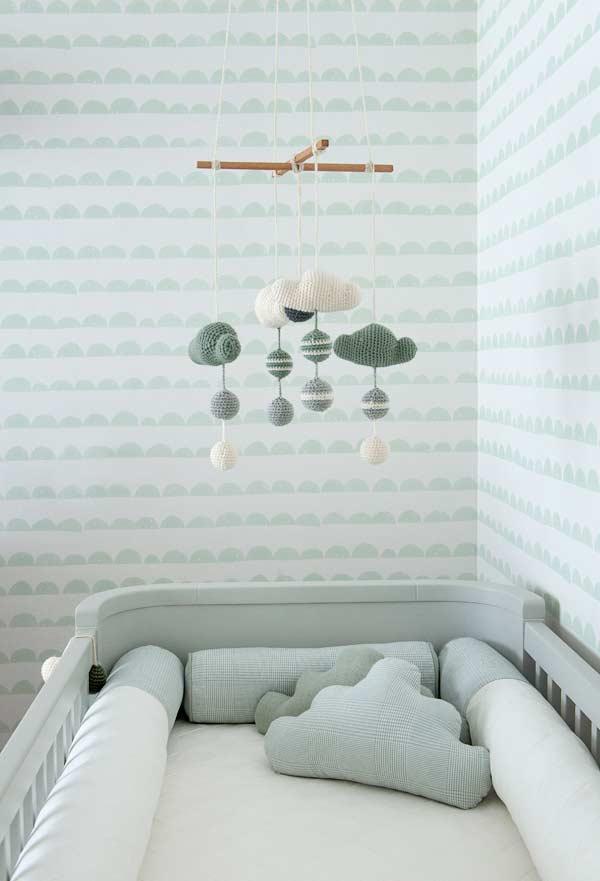 Detalhes para quarto de bebê verde e cinza