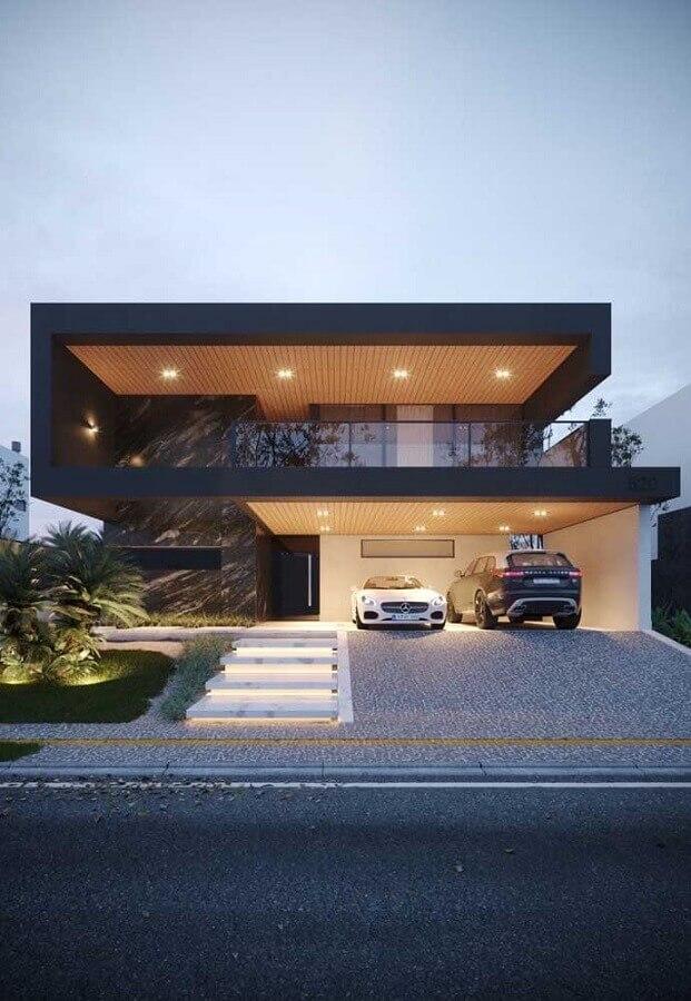 fachadas de casas de luxo modernas com ampla varanda no andar de cima Foto Pinterest
