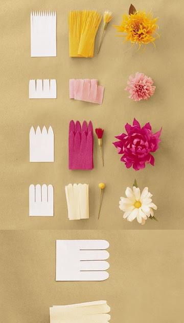 Flores de papel de seda coloridas e pequenas