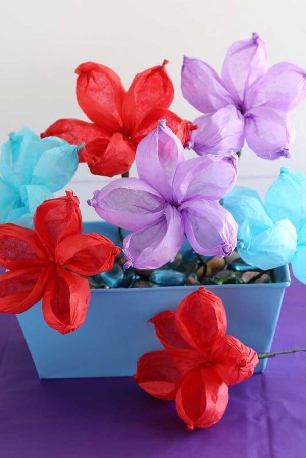 Flores de papel de seda fácil de fazer
