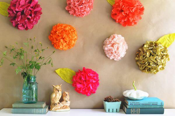 Flores de papel de seda para casa moderna e colorida