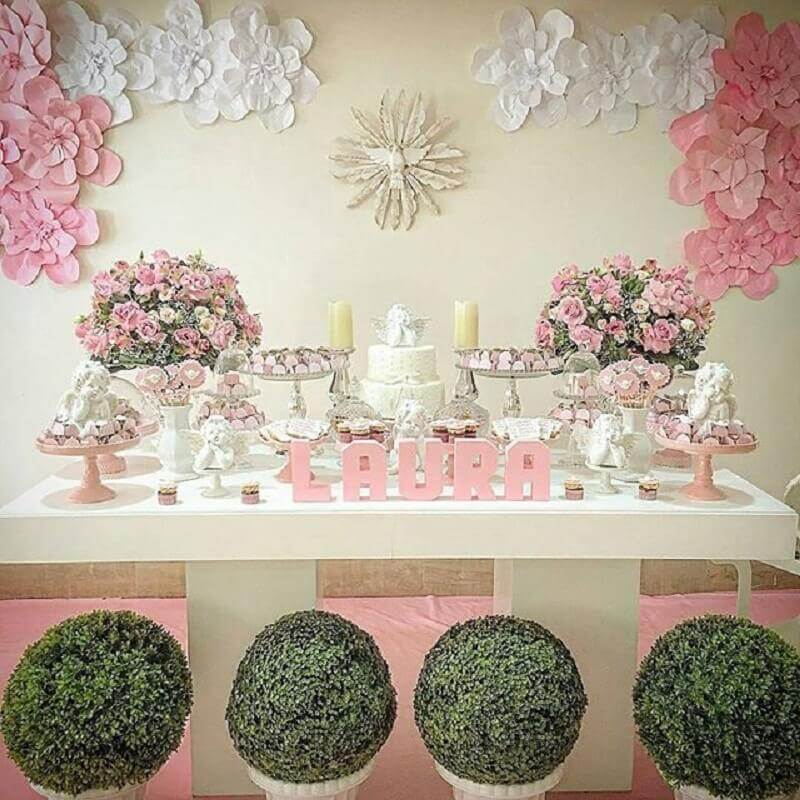 paper flowers for decoration of christening pink and white girl Photo My Party