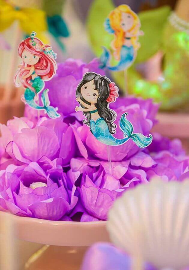 forminhas de doces para decoração de festa sereia Foto Pinterest