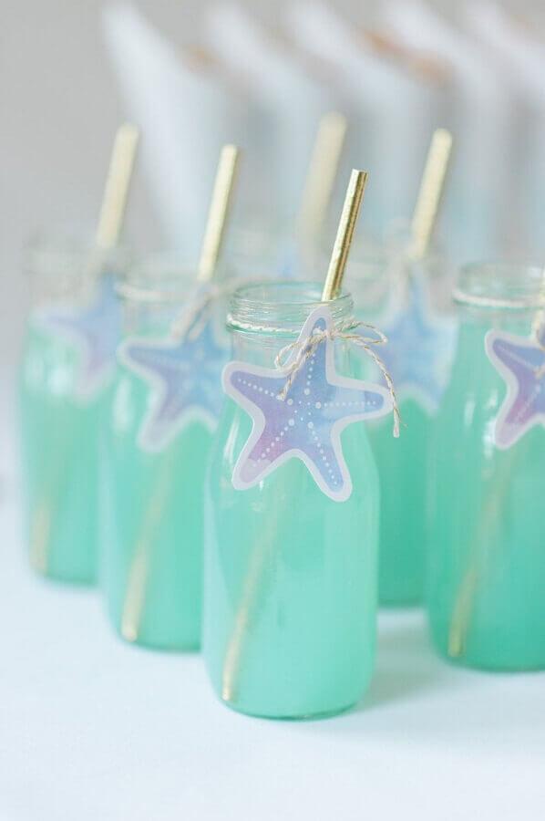 garrafinhas de suco decoradas para festa sereia Foto Etsy