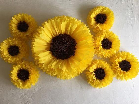 Flores de papel de seda: Girassol