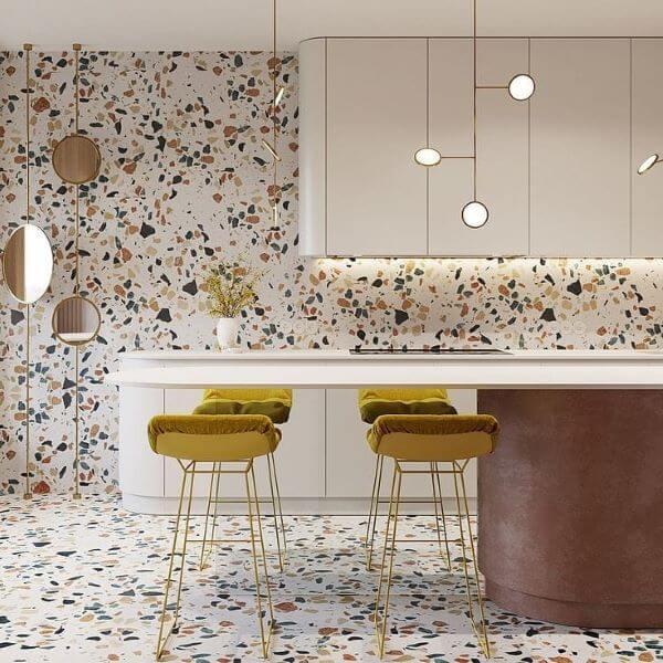 Que tal investir em banquetas coloridas para sua cozinha