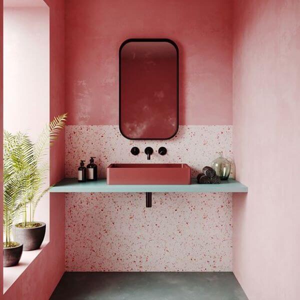 Granilite cor de rosa para banheiro