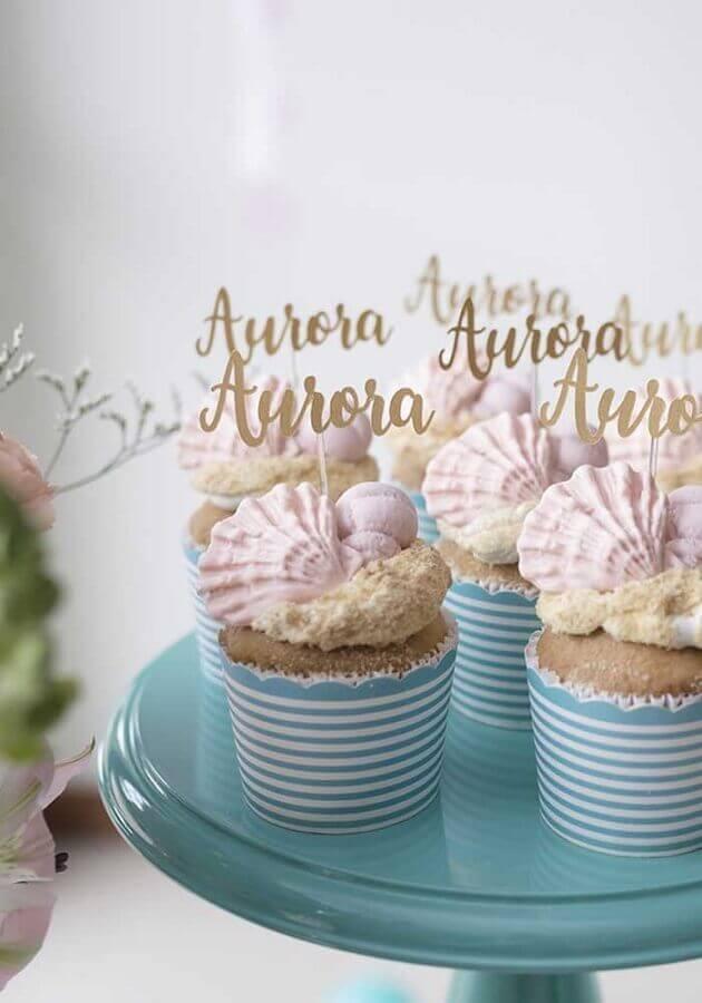 ideia cupcakes decorados para festa de sereia  Foto Zozu
