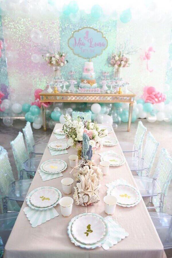 ideia de decoração para festa sereia Foto Pinterest