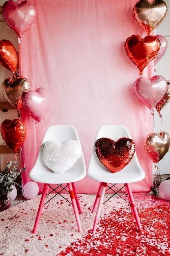 Ideias para dia dos namorados com casa decorada com balões