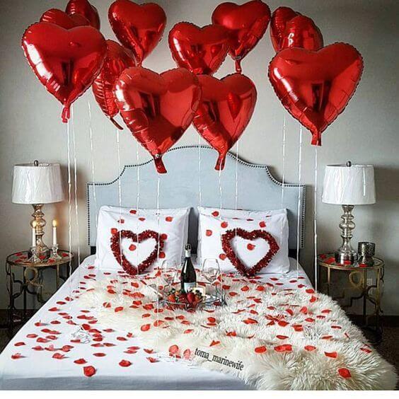 Ideias para dia dos namorados com balões no quarto