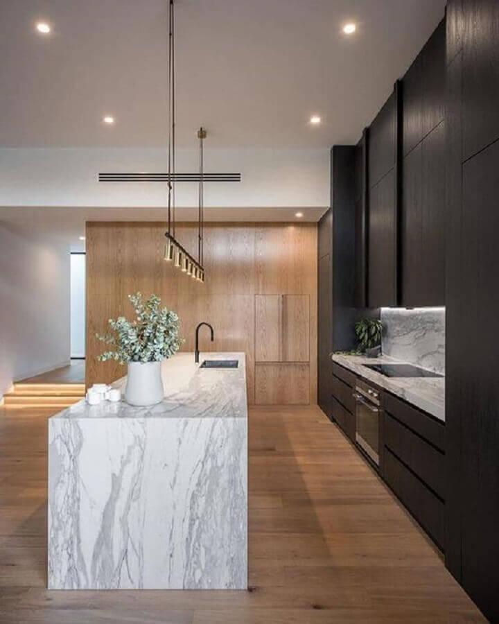 ilha de mármore para cozinha preta moderna e sofisticada Foto Pinterest