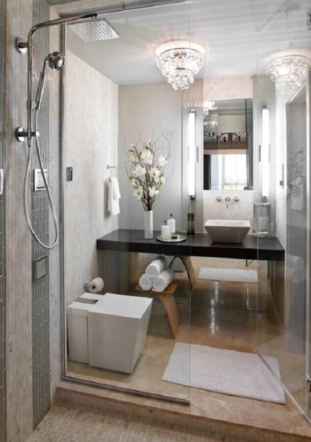 lustre de cristal para banheiro pequeno Foto Ideias Decor