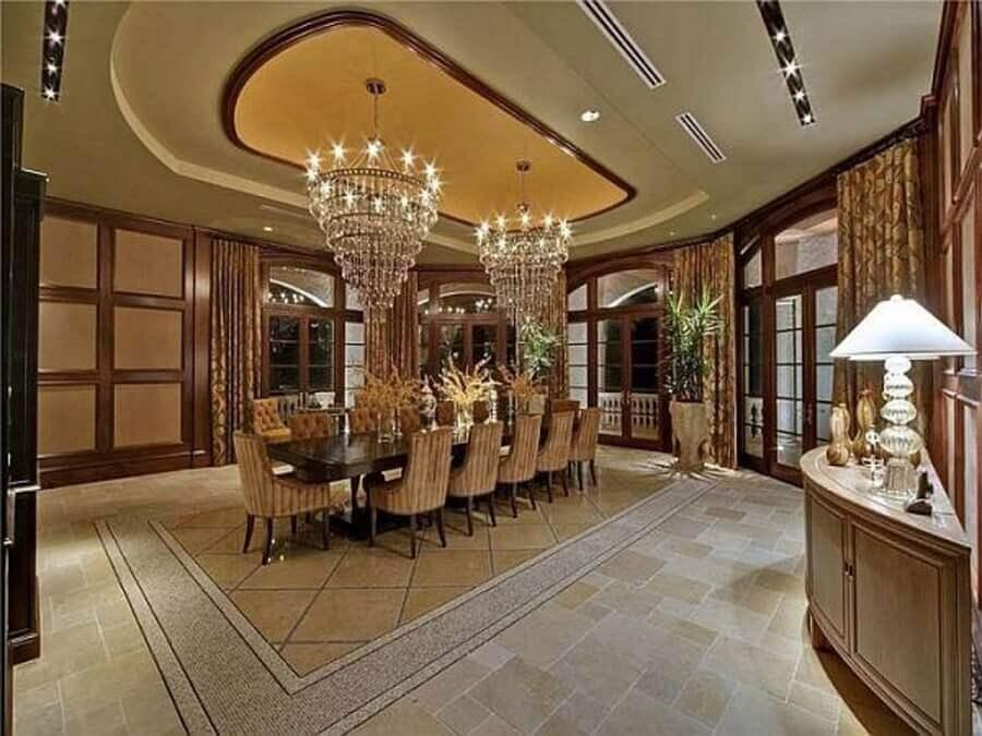 lustre de cristal para decoração de sala de jantar em casas de luxo Foto Pinterest