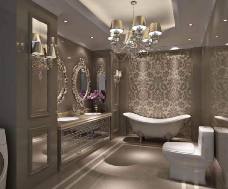 lustre para banheiro clássico com decoração sofisticada Foto Anne Decker Architects