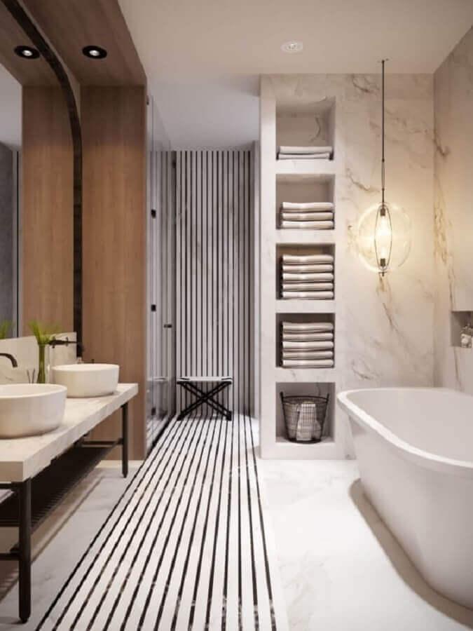 lustre pendente para banheiro com banheira Foto Dicas Decor