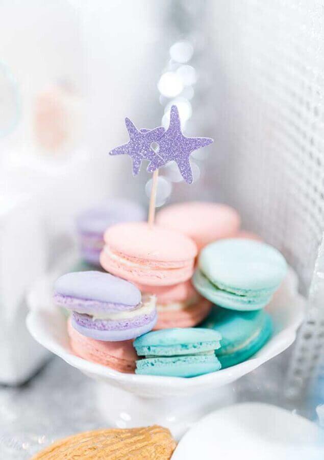 macarons em tons pastéis para festa sereia  Foto Zozu