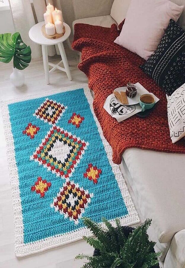 modelo colorido de tapete de crochê retangular para sala Foto Deavita