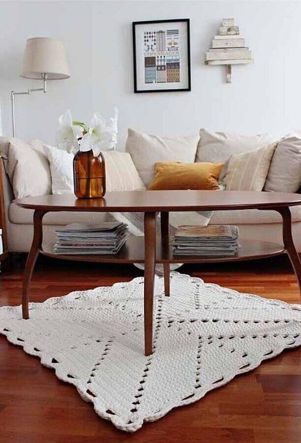 modelo de tapete de crochê quadrado para sala Foto Ideias Decor
