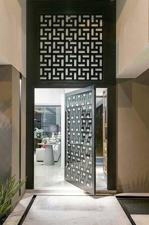 modelo diferente de porta para sala com recortes geométricos Foto Ideias Decor