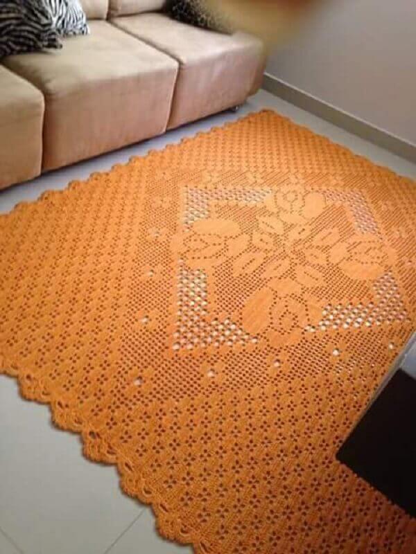 modelo simples de tapete de crochê para sala Foto Crochê Online