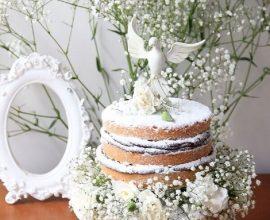 naked cake para decoração de batizado  Foto Revista Artesanato