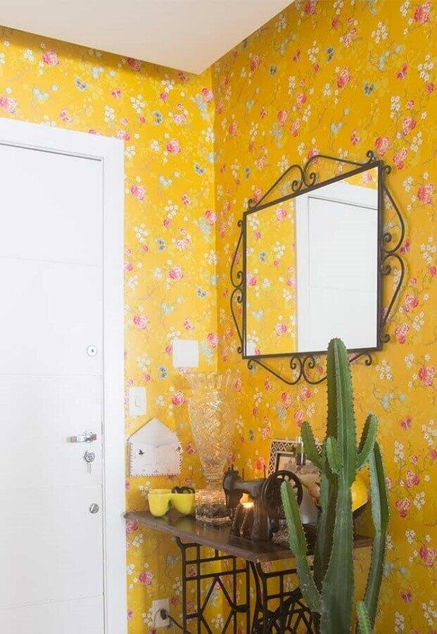 papel de parede floral com fundo na cor mostarda para hall de entrada Foto Rug'Society