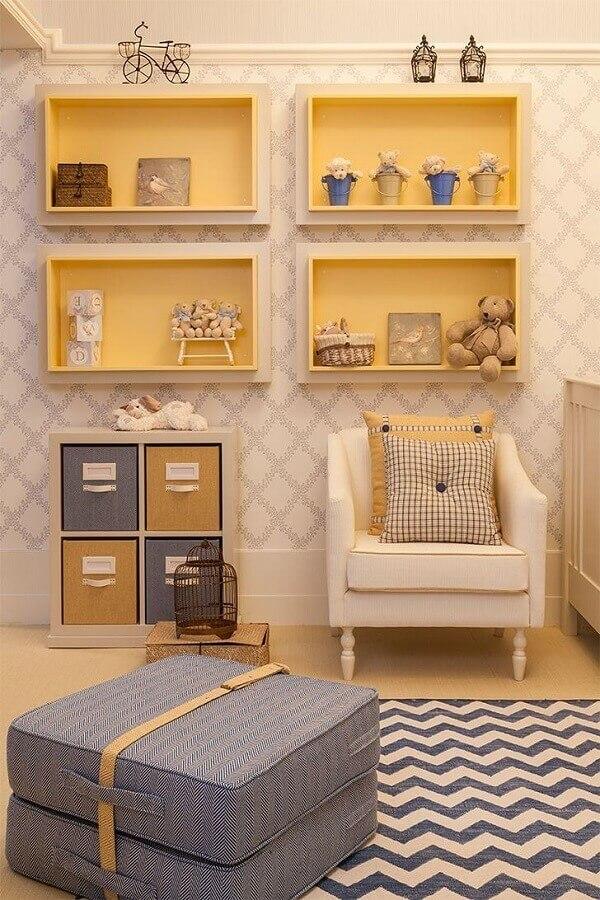 papel de parede para decoração de quarto de bebê amarelo Foto Decoração de Casa