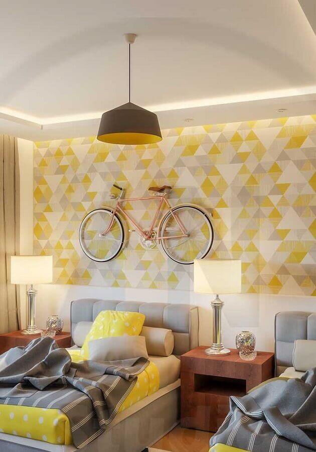 papel de parede para quarto amarelo e cinza com decoração moderna Foto Webcomunica