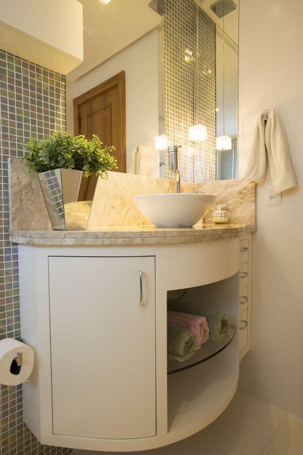 Pia de mármore para banheiro neutro
