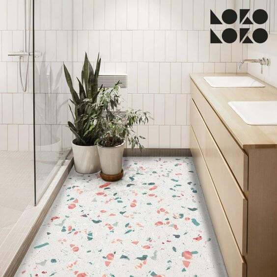 Piso granilite para banheiro branco