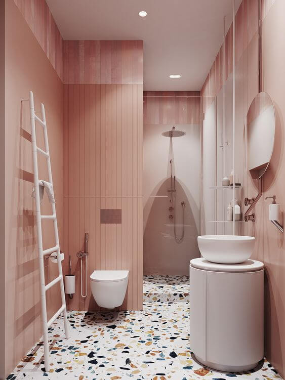 Piso granilite para banheiro cor de rosa
