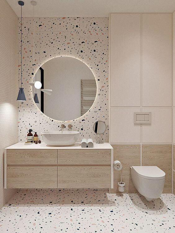Banheiro neutro com decoração moderna
