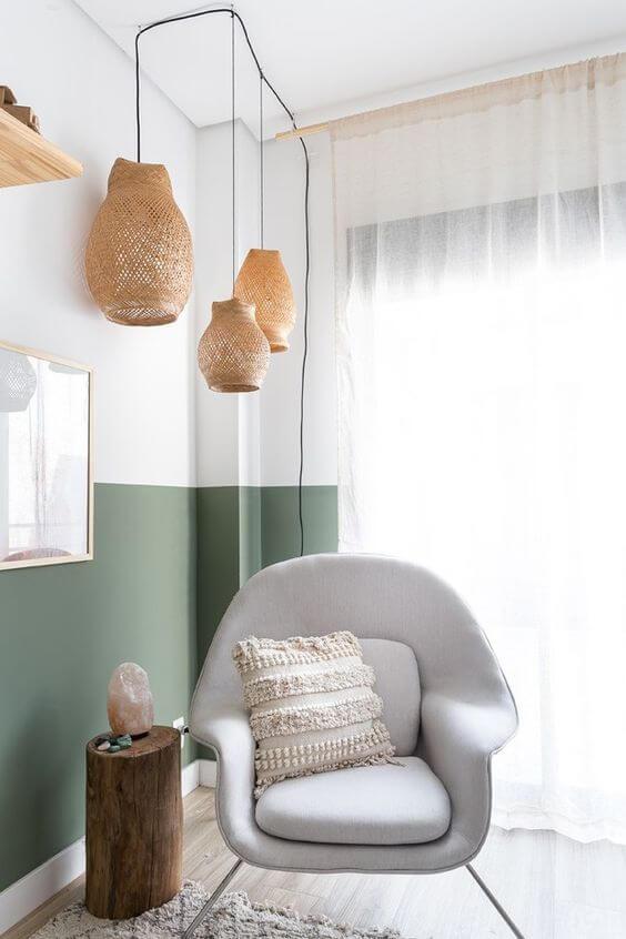 Poltronas cinza para sala verde
