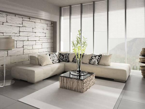 Porcelanato cinza claro na sala de estar super moderna
