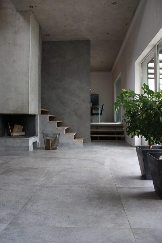 Porcelanato cinza e moderno