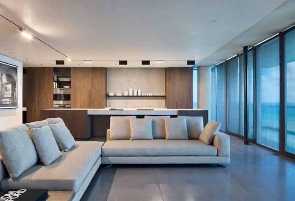 Porcelanato cinza na sala de estar