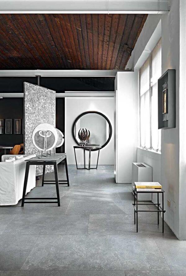 Porcelanato cinza para sala preto e branco