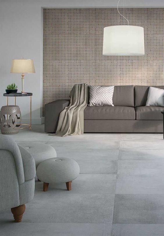 Porcelanato cinza para sala neutra e sofisticada