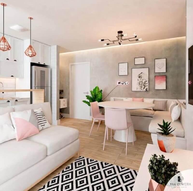 porta branca para sala com cozinha e sala de jantar integrada Foto Reciclar e Decorar