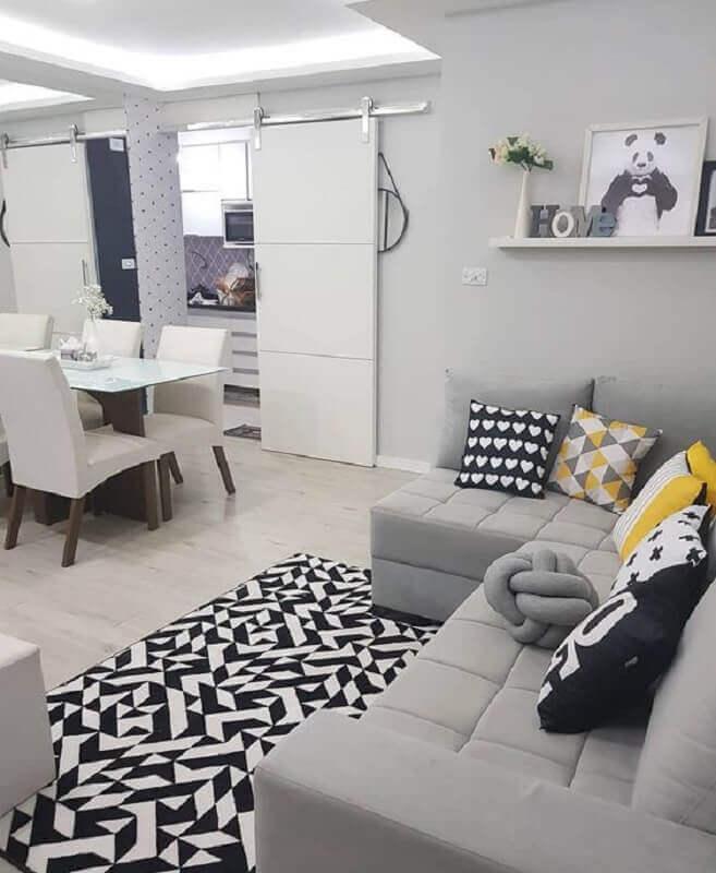 porta de correr para sala com sala de jantar integrada Foto Casa Vogue