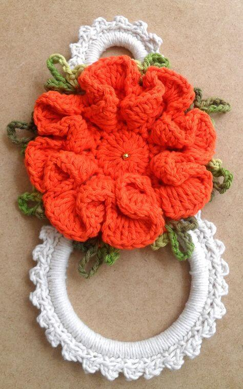 Porta guardanapo de crochê vermelho