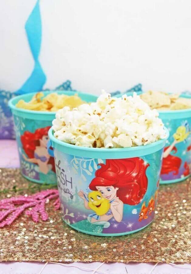 potinhos de salgadinhos para festa pequena sereia Foto Pinterest