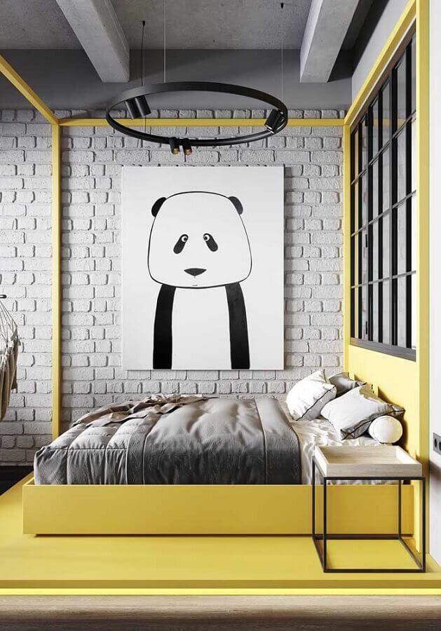 quarto amarelo e cinza com decoração estilo industrial Foto Pinterest