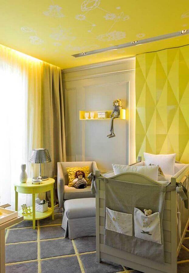 quarto de bebê amarelo moderno decorado com revestimento 3d Foto Ideias Decor