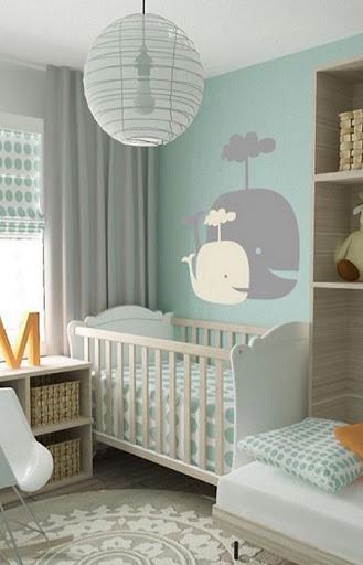Quarto de bebê verde e cinza