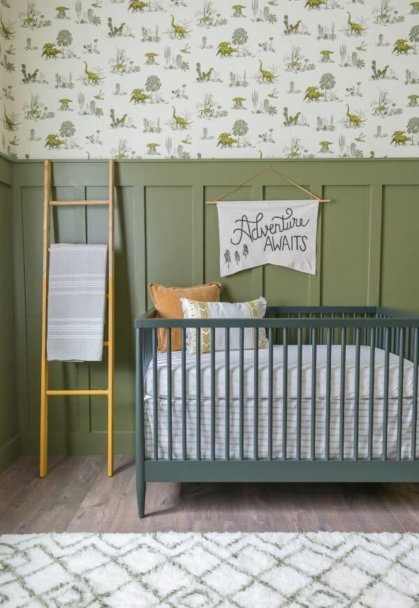 Quarto de bebê em tons de verde