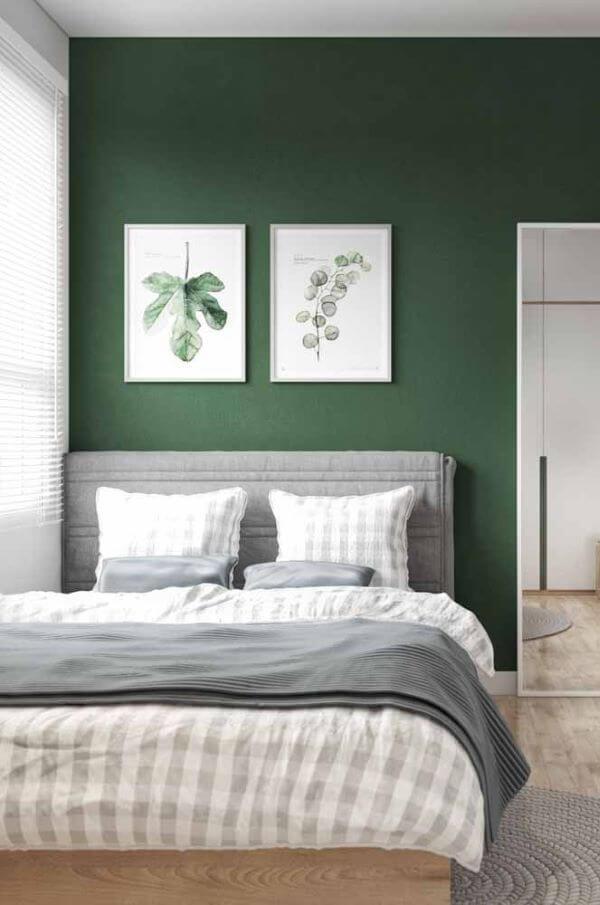 Quarto em verde e cinza
